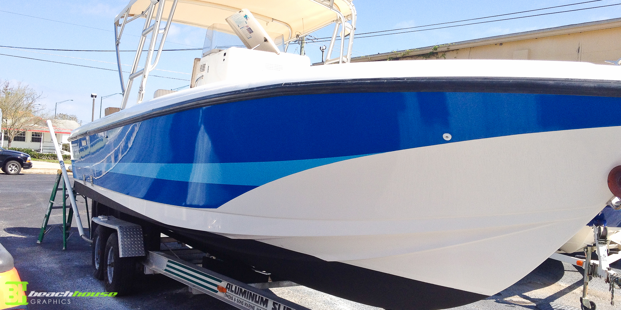 Daytona beach boat wrap solid vinyl wrap with stripe boat wrap new smyrna port orange custom vehicle wraps